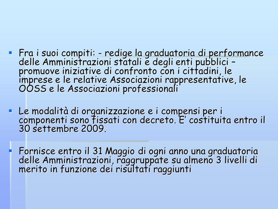 Fra i suoi compiti: - redige la graduatoria di performance delle Amministrazioni statali e degli enti pubblici – promuove iniziative di confronto con