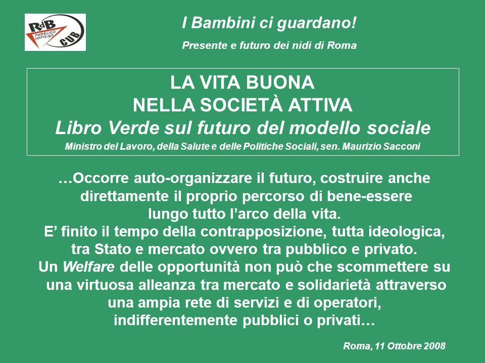 I Bambini ci guardano! Presente e futuro dei nidi di Roma Roma, 11 Ottobre 2008 LA VITA BUONA NELLA SOCIETÀ ATTIVA Libro Verde sul futuro del modello