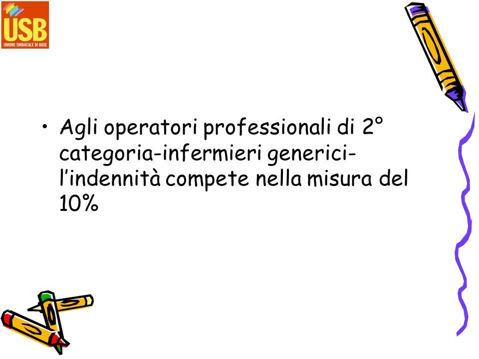 Agli operatori professionali di 2° categoria-infermieri generici- lindennità compete nella misura del 10%