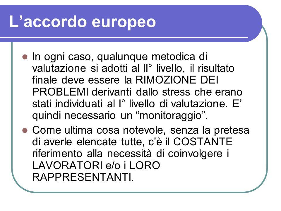 Laccordo europeo In ogni caso, qualunque metodica di valutazione si adotti al II° livello, il risultato finale deve essere la RIMOZIONE DEI PROBLEMI d