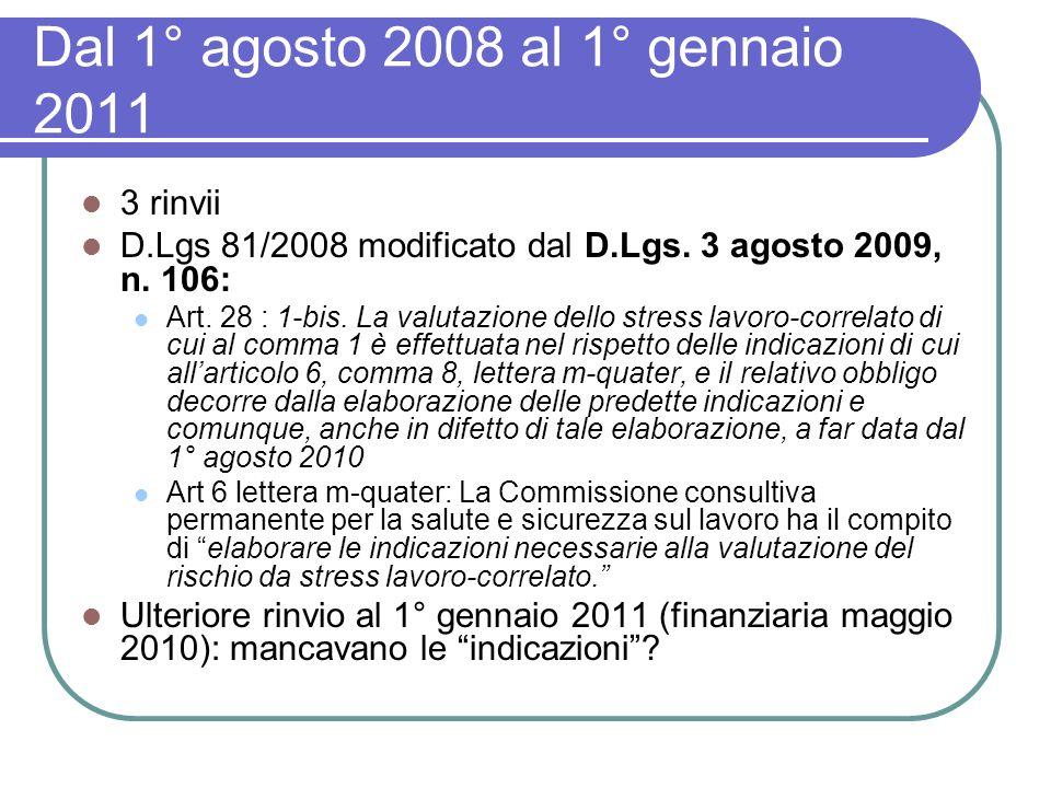Dal 1° agosto 2008 al 1° gennaio 2011 3 rinvii D.Lgs 81/2008 modificato dal D.Lgs. 3 agosto 2009, n. 106: Art. 28 : 1-bis. La valutazione dello stress
