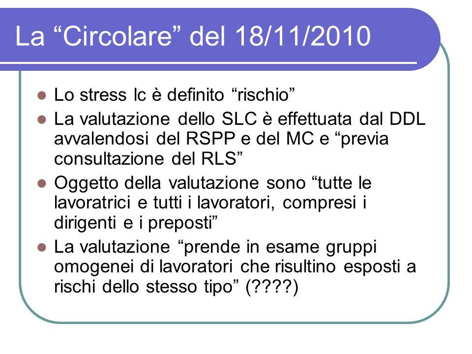 La Circolare del 18/11/2010 Lo stress lc è definito rischio La valutazione dello SLC è effettuata dal DDL avvalendosi del RSPP e del MC e previa consu