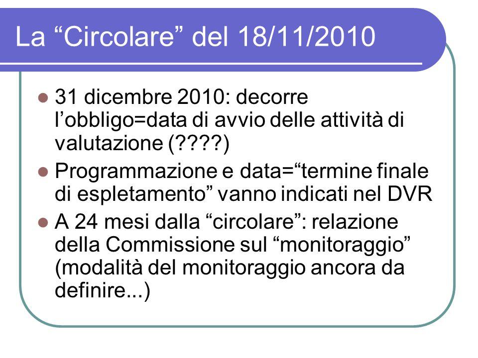 La Circolare del 18/11/2010 31 dicembre 2010: decorre lobbligo=data di avvio delle attività di valutazione (????) Programmazione e data=termine finale