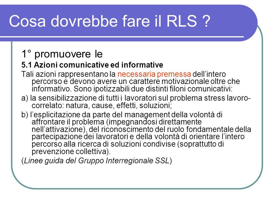 Cosa dovrebbe fare il RLS ? 1° promuovere le 5.1 Azioni comunicative ed informative Tali azioni rappresentano la necessaria premessa dellintero percor