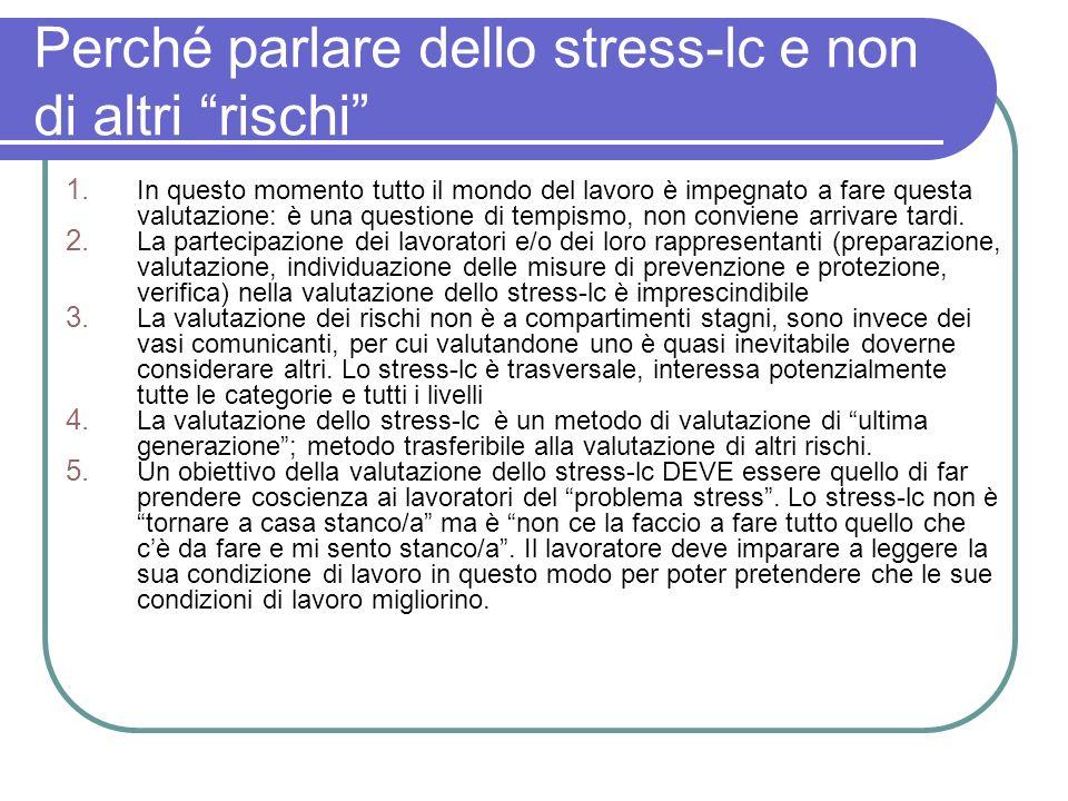 Perché parlare dello stress-lc e non di altri rischi 1. In questo momento tutto il mondo del lavoro è impegnato a fare questa valutazione: è una quest