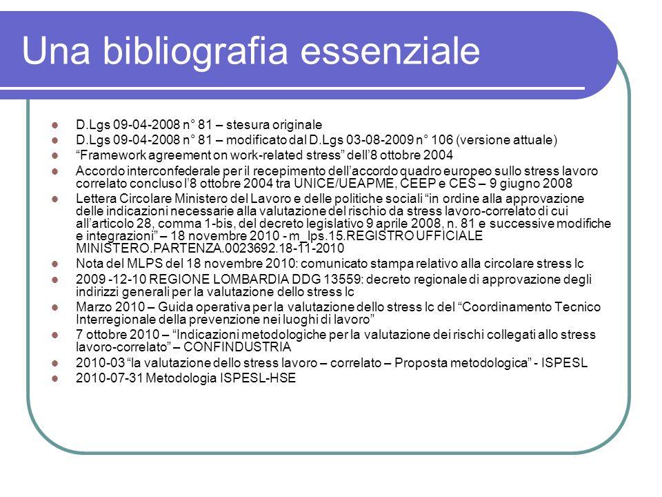 Una bibliografia essenziale D.Lgs 09-04-2008 n° 81 – stesura originale D.Lgs 09-04-2008 n° 81 – modificato dal D.Lgs 03-08-2009 n° 106 (versione attua