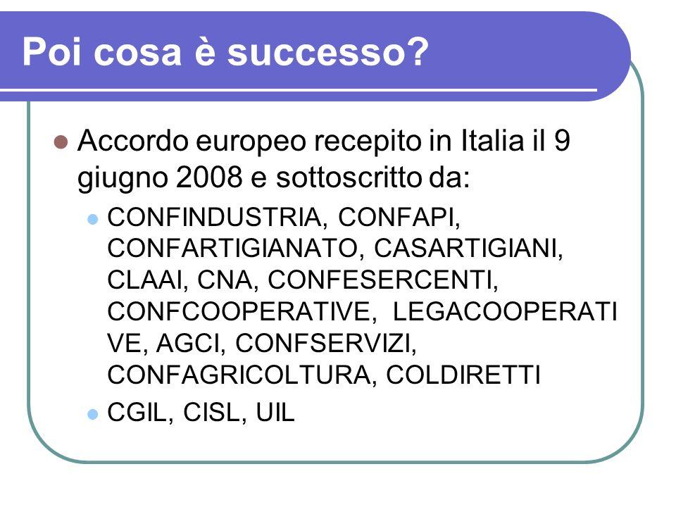 Poi cosa è successo? Accordo europeo recepito in Italia il 9 giugno 2008 e sottoscritto da: CONFINDUSTRIA, CONFAPI, CONFARTIGIANATO, CASARTIGIANI, CLA