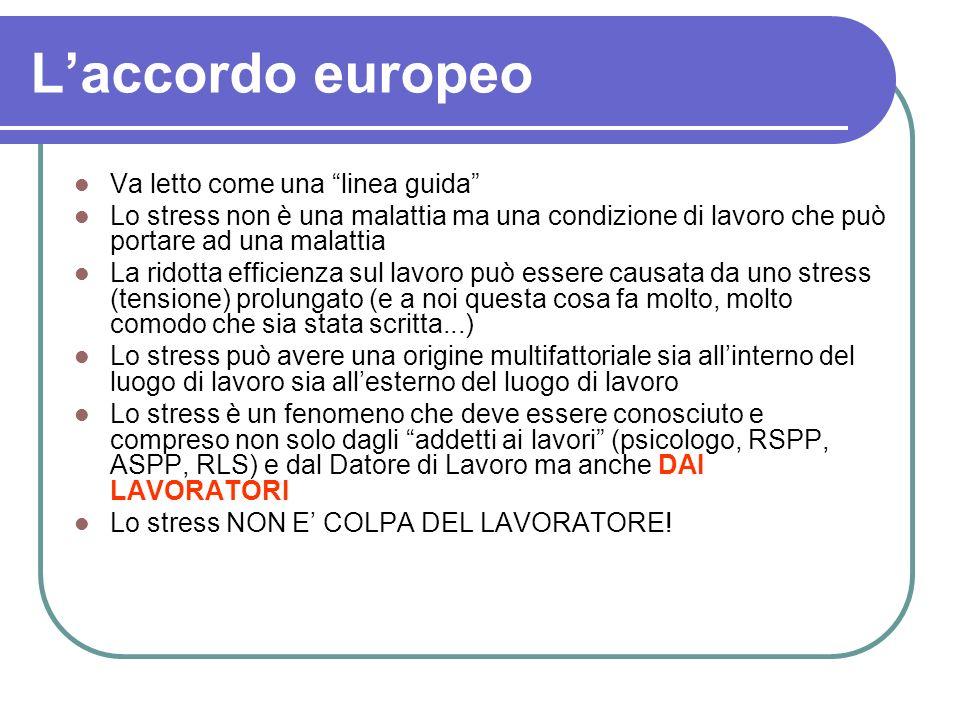 Laccordo europeo Va letto come una linea guida Lo stress non è una malattia ma una condizione di lavoro che può portare ad una malattia La ridotta eff
