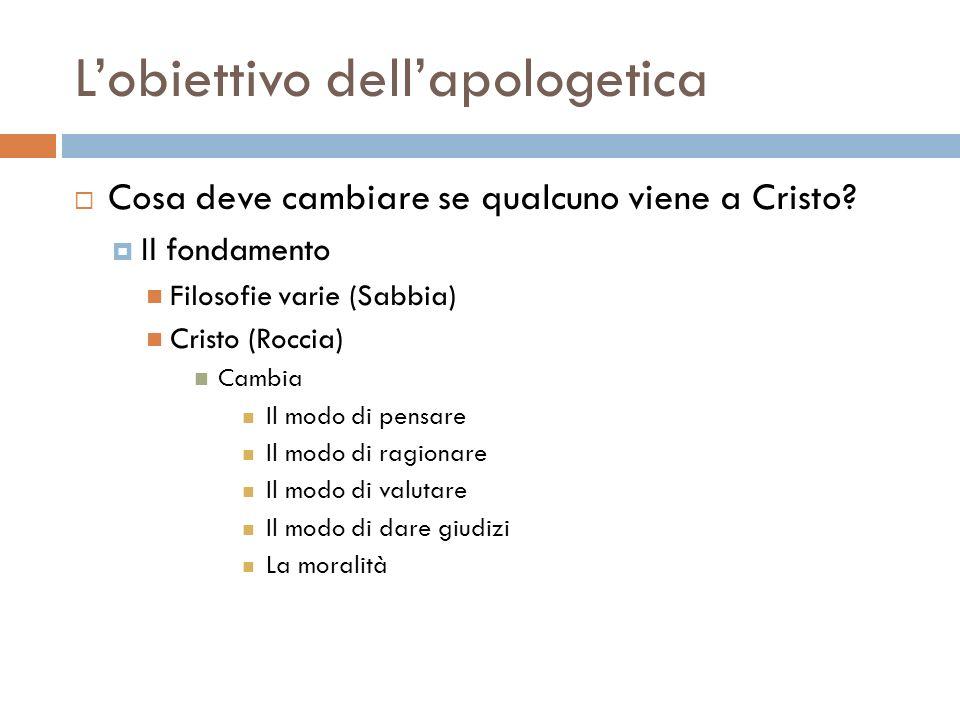 Lobiettivo dellapologetica Cosa deve cambiare se qualcuno viene a Cristo? Il fondamento Filosofie varie (Sabbia) Cristo (Roccia) Cambia Il modo di pen