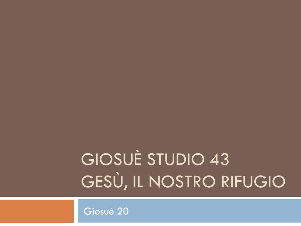 GIOSUÈ STUDIO 43 GESÙ, IL NOSTRO RIFUGIO Giosuè 20
