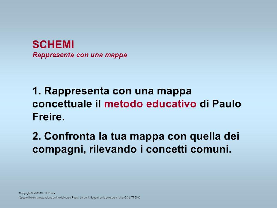 SCHEMI Rappresenta con una mappa 1. Rappresenta con una mappa concettuale il metodo educativo di Paulo Freire. 2. Confronta la tua mappa con quella de