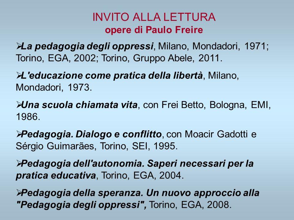La pedagogia degli oppressi, Milano, Mondadori, 1971; Torino, EGA, 2002; Torino, Gruppo Abele, 2011. L'educazione come pratica della libertà, Milano,