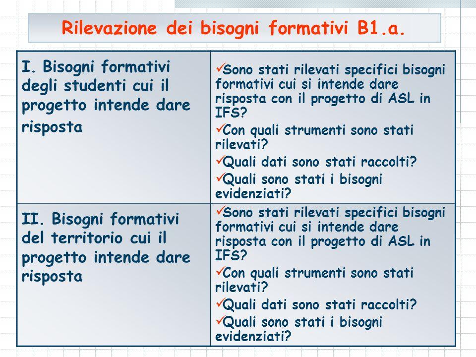Rilevazione dei bisogni formativi B1.a. I.
