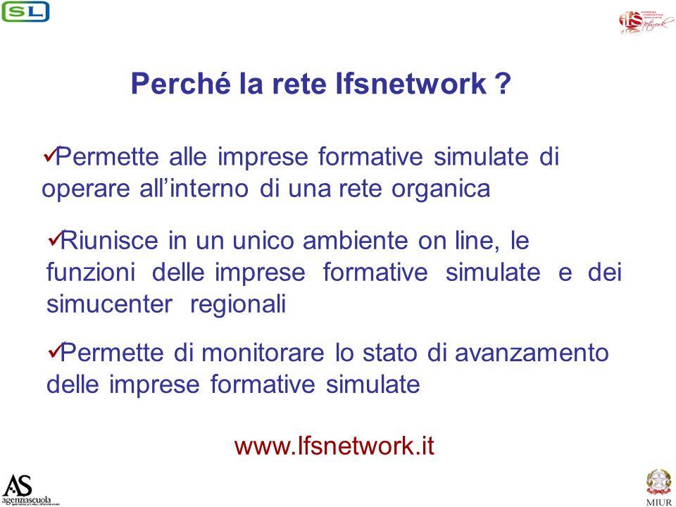 Riunisce in un unico ambiente on line, le funzioni delle imprese formative simulate e dei simucenter regionali Perché la rete Ifsnetwork .