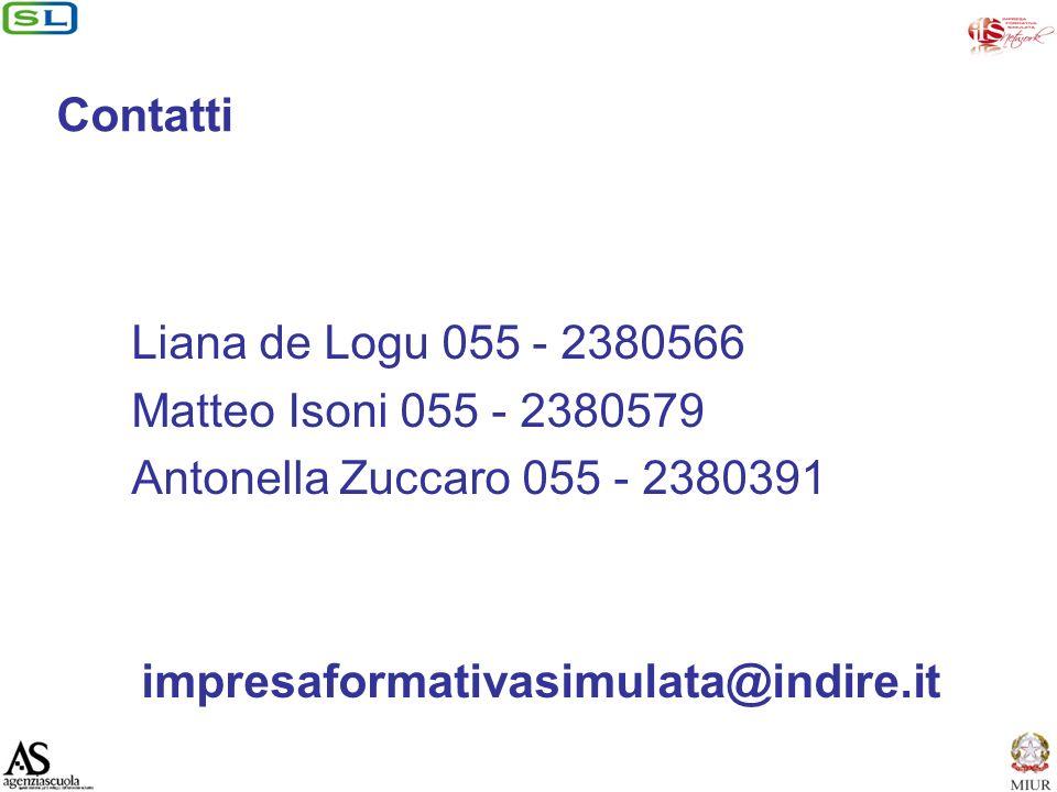 Contatti Liana de Logu 055 - 2380566 Matteo Isoni 055 - 2380579 Antonella Zuccaro 055 - 2380391 impresaformativasimulata@indire.it