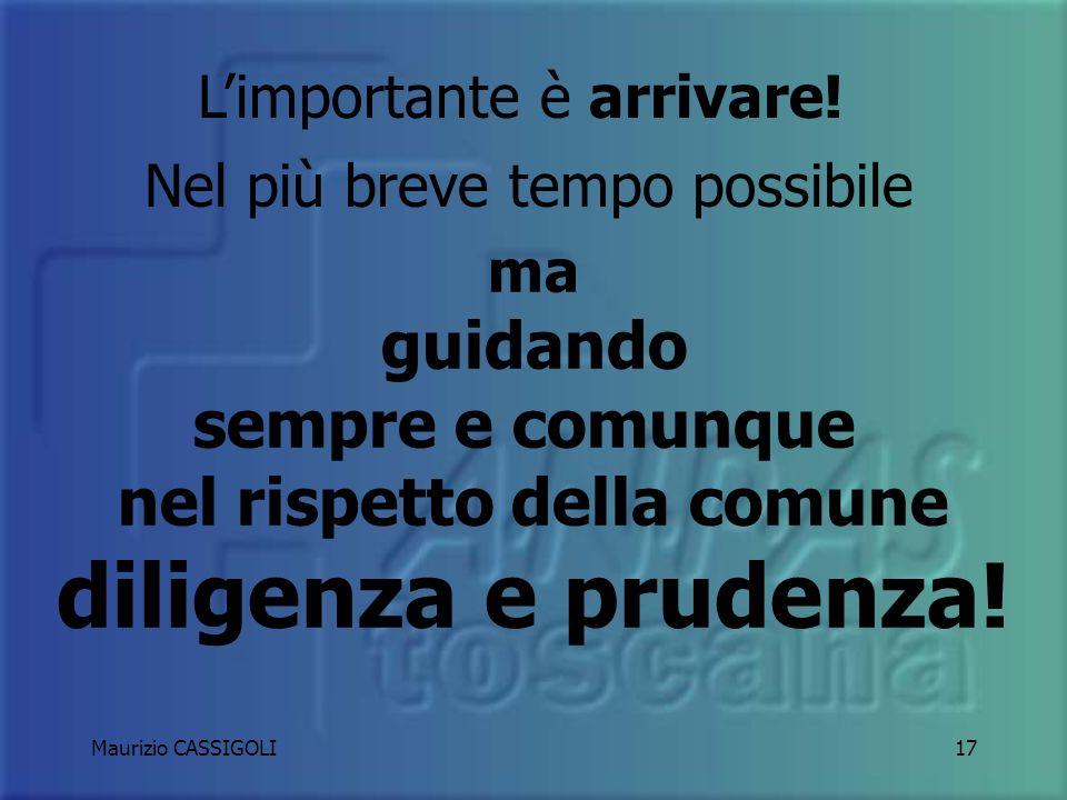 Maurizio CASSIGOLI16 Verifica le condizioni climatiche Verifica lo stato della strada Adatta il tuo stile di guida Non far perdere mai aderenza alle ruote motrici!