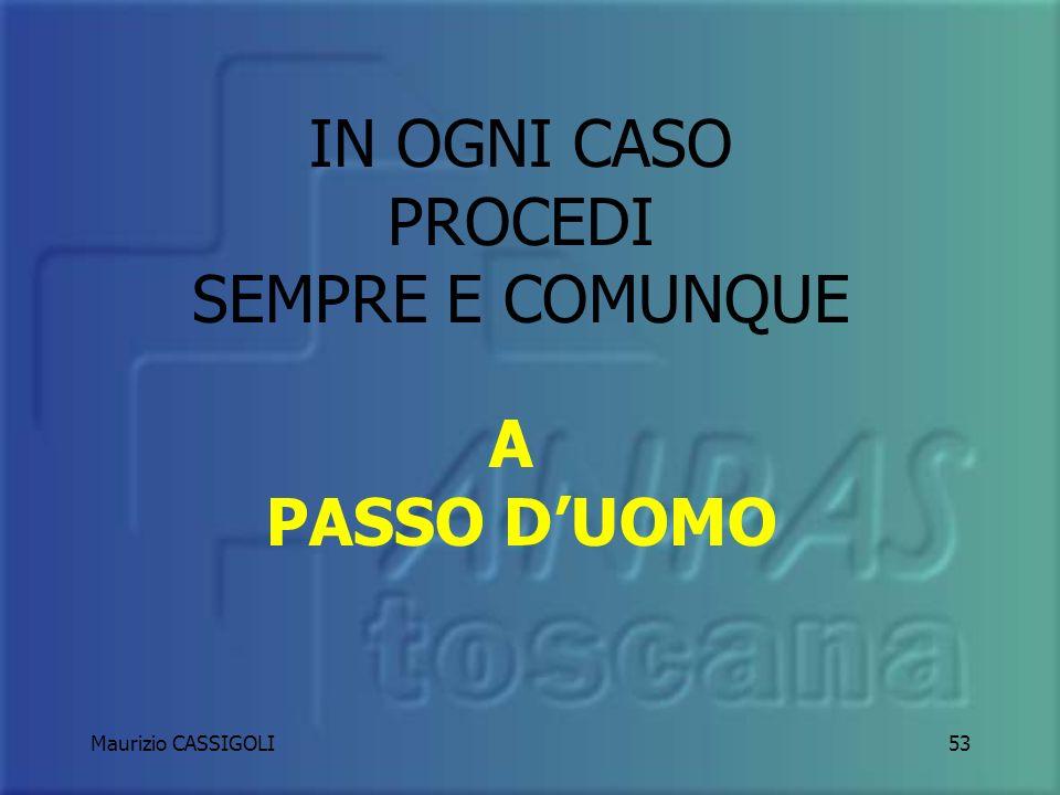 Maurizio CASSIGOLI52 AGLI INCROCI CHE RISULTANO COPERTI MANDA SEMPRE QUALCUNO AVANTI A PIEDI PER SEGNALARTI PERICOLI