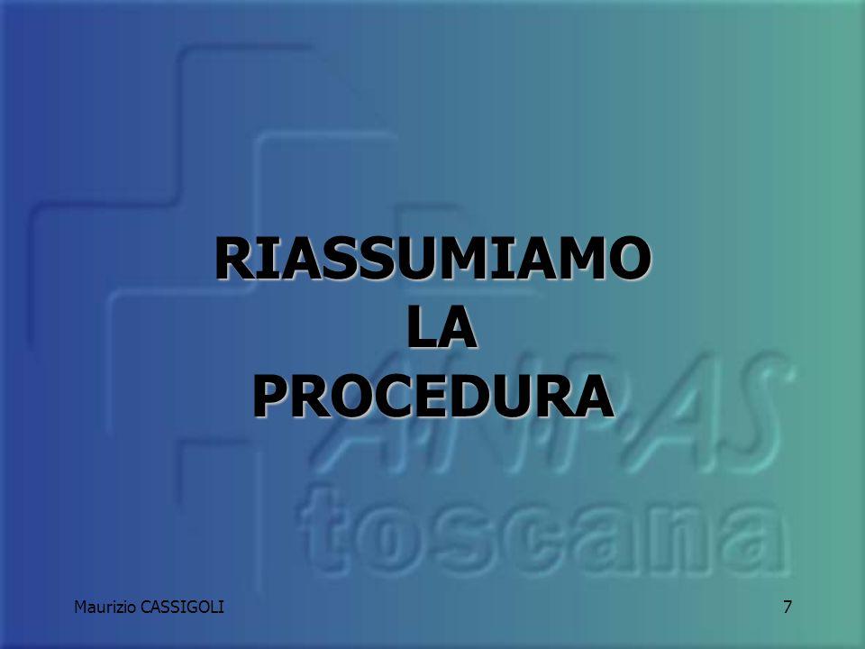 Maurizio CASSIGOLI6 C H E C K L I S T OK Si procede nella normale attività NON OK Si informa il responsabile: se il problema compromette la sicurezza
