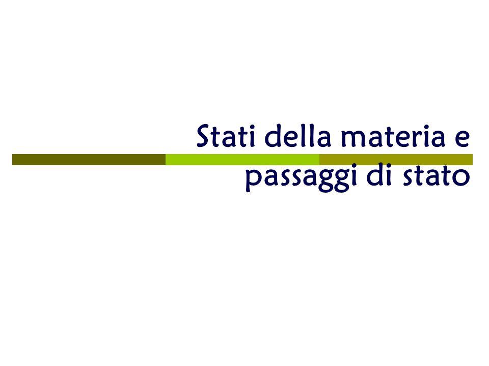 Gli Stati Della Materia Stati Della Materia e Passaggi