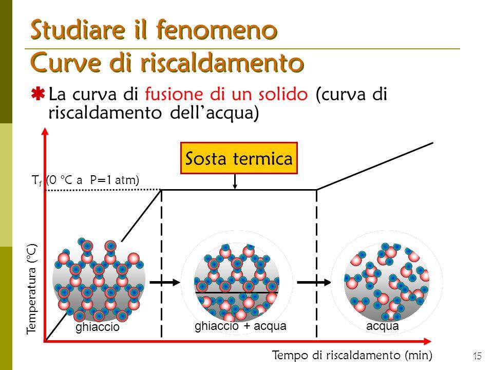 15 Studiare il fenomeno Curve di riscaldamento La curva di fusione di un solido (curva di riscaldamento dellacqua) Tempo di riscaldamento (min) Sosta