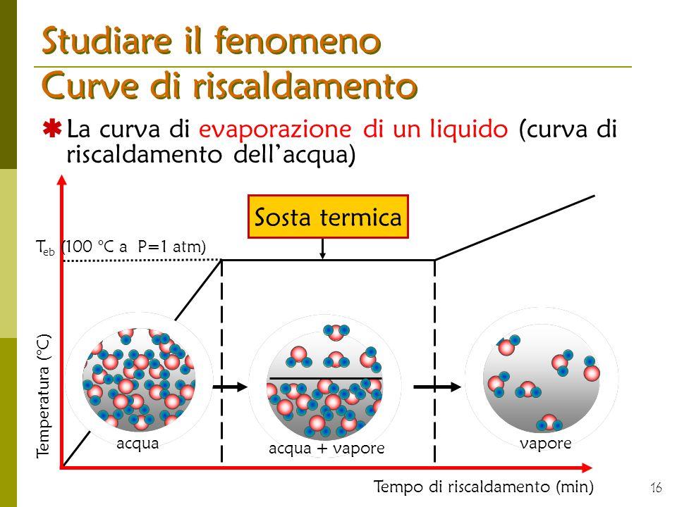 16 Studiare il fenomeno Curve di riscaldamento La curva di evaporazione di un liquido (curva di riscaldamento dellacqua) Sosta termica Tempo di riscal