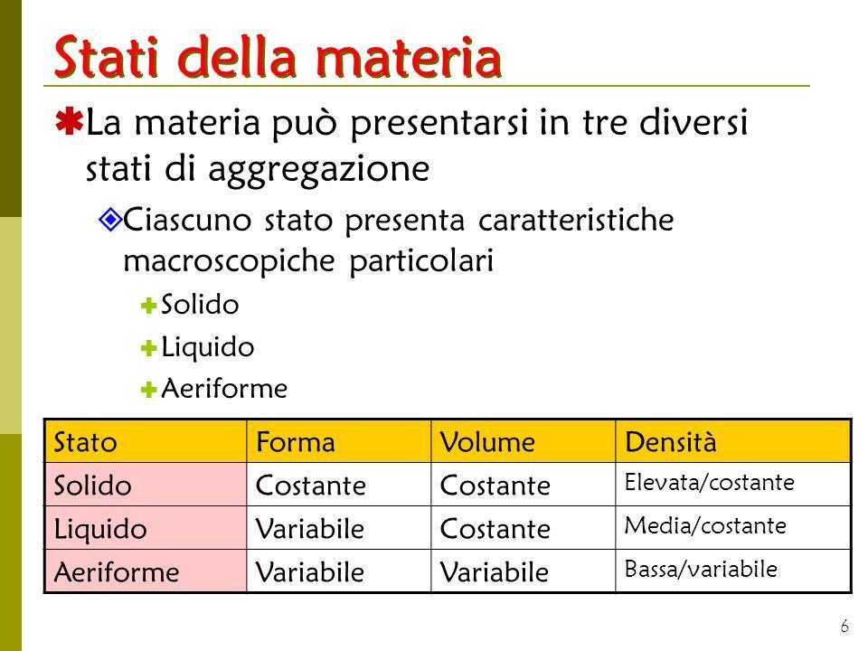 6 Stati della materia La materia può presentarsi in tre diversi stati di aggregazione Ciascuno stato presenta caratteristiche macroscopiche particolar