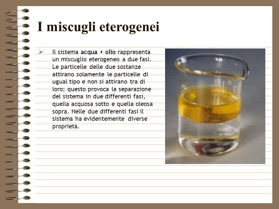 Il sistema acqua + olio rappresenta un miscuglio eterogeneo a due fasi. Le particelle delle due sostanze attirano solamente le particelle di ugual tip