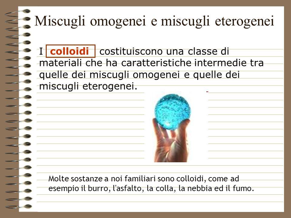 I colloidi costituiscono una classe di materiali che ha caratteristiche intermedie tra quelle dei miscugli omogenei e quelle dei miscugli eterogenei.