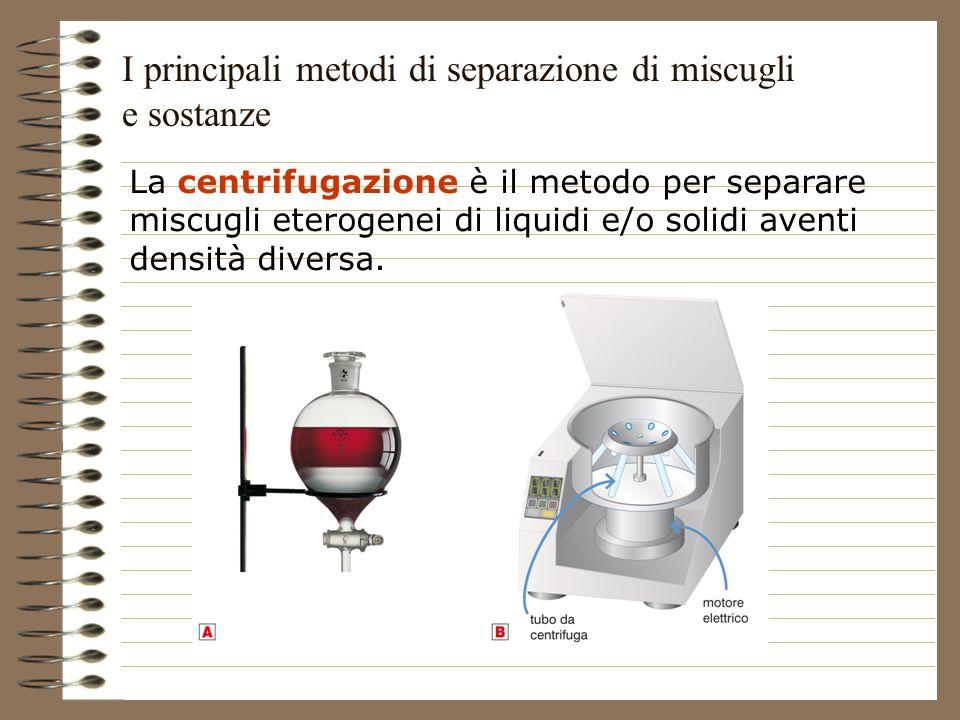 La centrifugazione è il metodo per separare miscugli eterogenei di liquidi e/o solidi aventi densità diversa. I principali metodi di separazione di mi