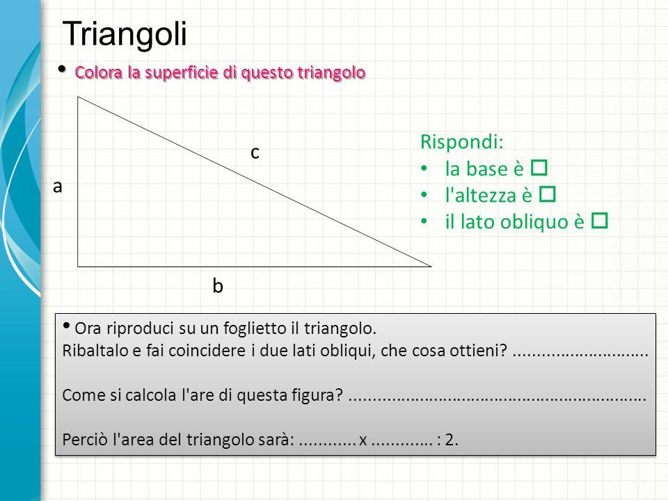 Triangoli Colora la superficie di questo triangolo Colora la superficie di questo triangolo Rispondi: la base è l altezza è il lato obliquo è Ora riproduci su un foglietto il triangolo.