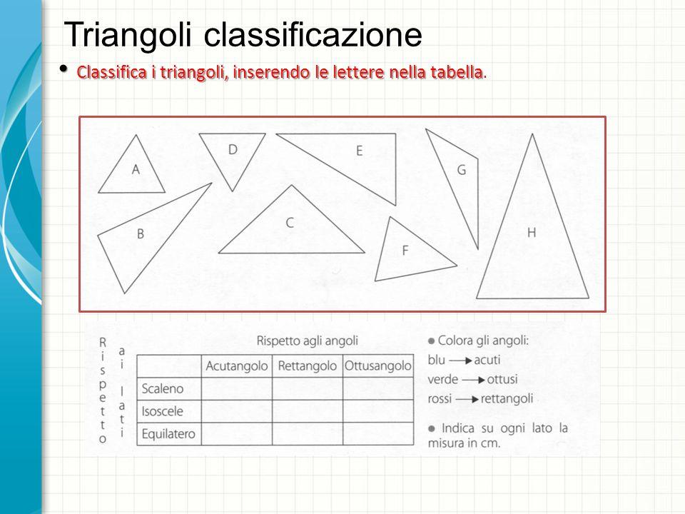 Triangoli classificazione Classifica i triangoli, inserendo le lettere nella tabella Classifica i triangoli, inserendo le lettere nella tabella.