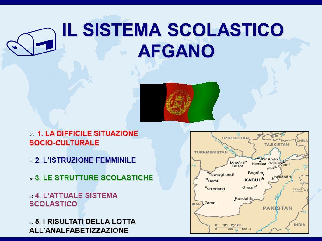 / IL SISTEMA SCOLASTICO AFGANO 1.LA DIFFICILE SITUAZIONE SOCIO-CULTURALE 2.