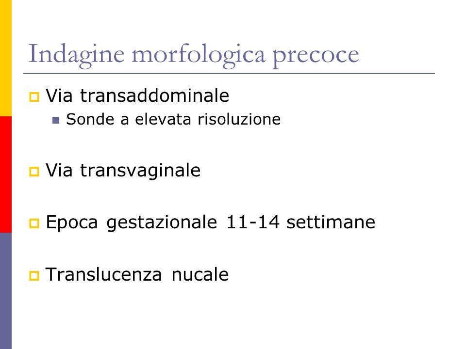 Indagine morfologica precoce Via transaddominale Sonde a elevata risoluzione Via transvaginale Epoca gestazionale 11-14 settimane Translucenza nucale