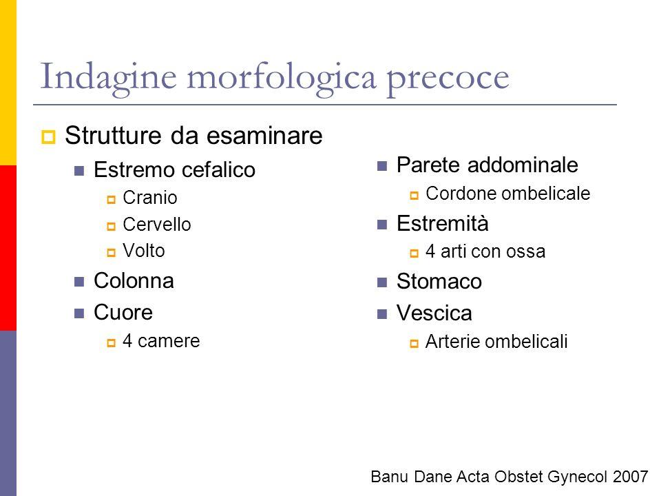 Indagine morfologica precoce Strutture da esaminare Estremo cefalico Cranio Cervello Volto Colonna Cuore 4 camere Parete addominale Cordone ombelicale