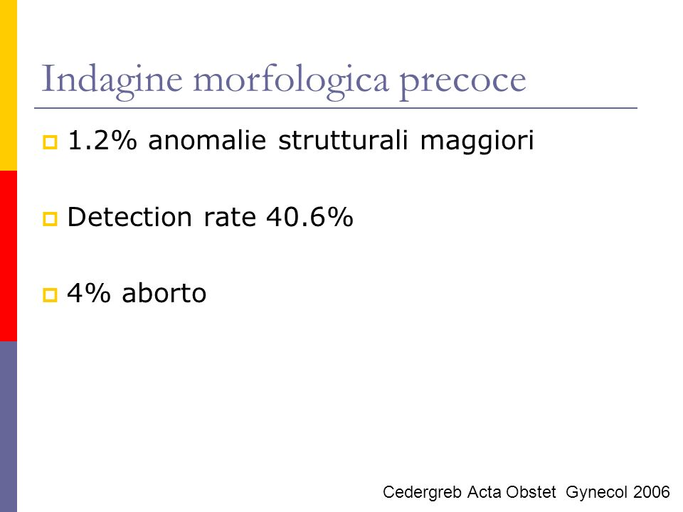 Indagine morfologica precoce 2.8% prevalenza di anomalie maggiori NT <2.5 mm Prevalenza 1% NT >2.5 mm Prevalenza 19% Detection rate 83.7% NT <2.5 mm 52% NT >2.5 mm 98% Becker Ultrasound Obstet Gynecol 2006