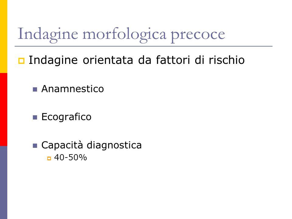 Indagine morfologica precoce Indagine orientata da fattori di rischio Anamnestico Ecografico Capacità diagnostica 40-50%
