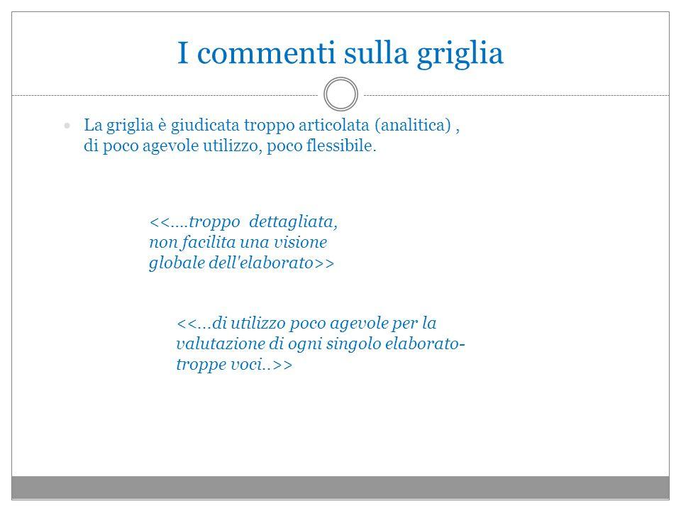 I commenti sulla griglia La griglia è giudicata troppo articolata (analitica), di poco agevole utilizzo, poco flessibile. >