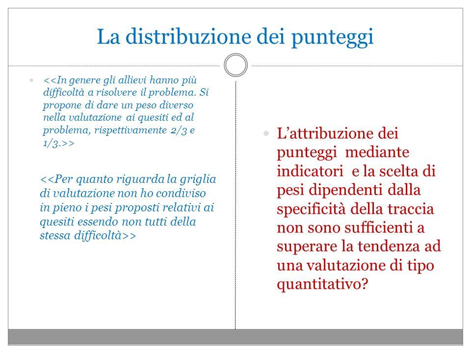 La distribuzione dei punteggi > Lattribuzione dei punteggi mediante indicatori e la scelta di pesi dipendenti dalla specificità della traccia non sono