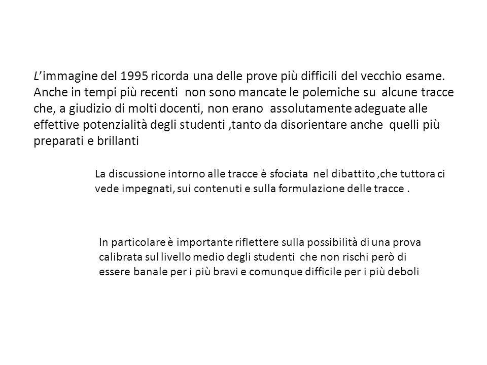 Limmagine del 1995 ricorda una delle prove più difficili del vecchio esame.