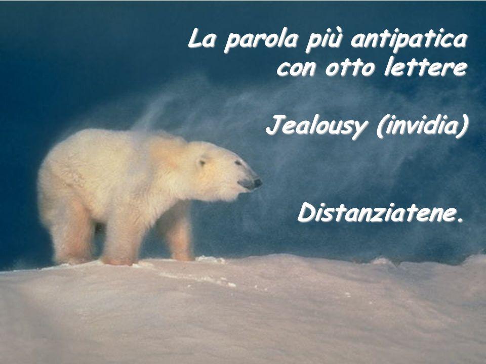 La parola più antipatica con otto lettere Jealousy (invidia) Distanziatene.