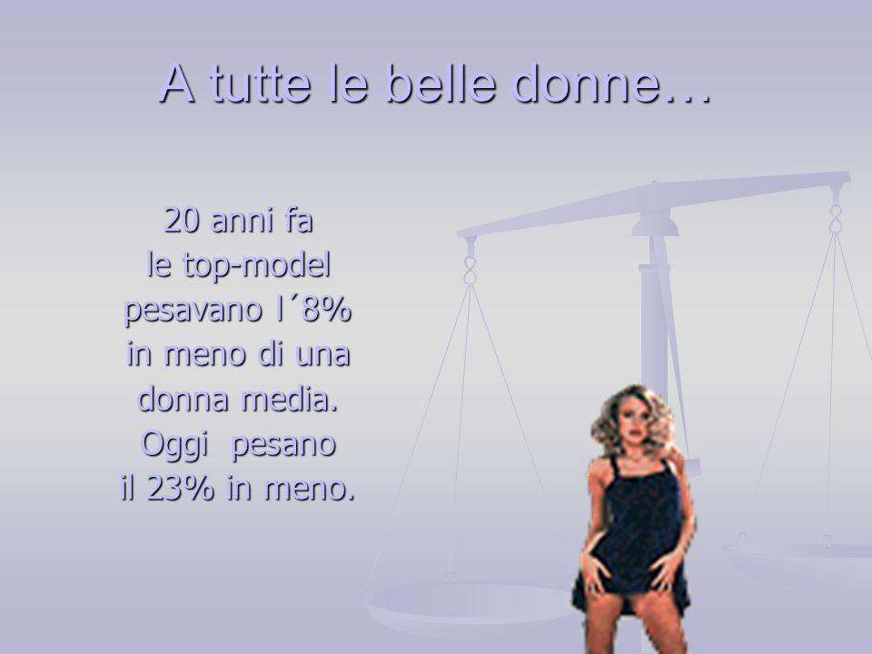 A tutte le belle donne… 20 anni fa le top-model pesavano l´8% in meno di una donna media. Oggi pesano il 23% in meno.