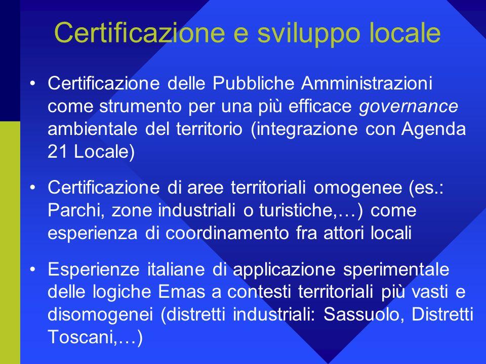 La certificazione può diventare uno strumento di azione sul territorio e sulle comunità locali? 3. Iclei (International Council for Local Environmenta