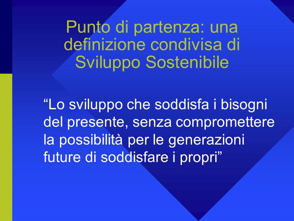 Punto di partenza: una definizione condivisa di Sviluppo Sostenibile Lo sviluppo che soddisfa i bisogni del presente, senza compromettere la possibilità per le generazioni future di soddisfare i propri