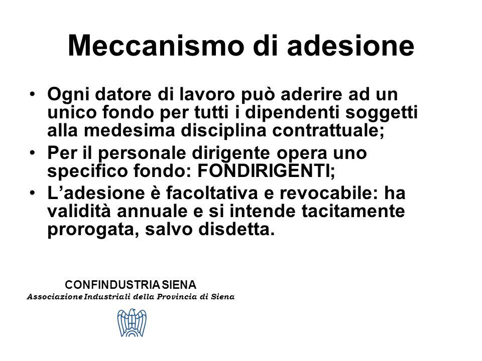 CONFINDUSTRIA SIENA Associazione Industriali della Provincia di Siena Meccanismo di adesione Ogni datore di lavoro può aderire ad un unico fondo per t