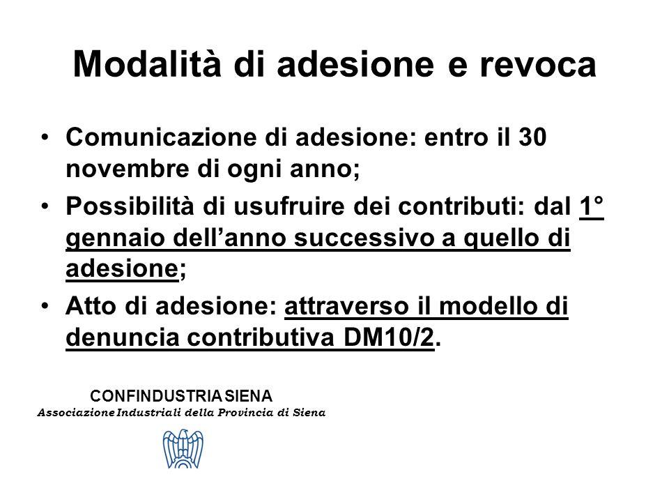 CONFINDUSTRIA SIENA Associazione Industriali della Provincia di Siena Modalità di adesione e revoca Comunicazione di adesione: entro il 30 novembre di