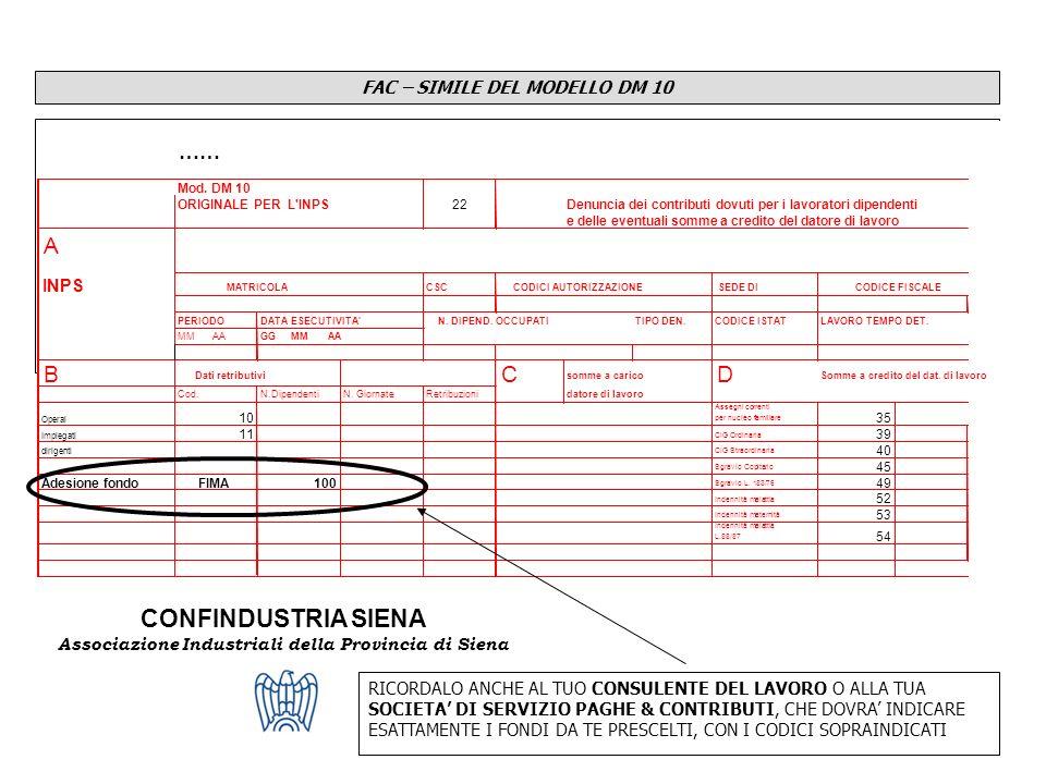 CONFINDUSTRIA SIENA Associazione Industriali della Provincia di Siena FAC – SIMILE DEL MODELLO DM 10 RICORDALO ANCHE AL TUO CONSULENTE DEL LAVORO O AL