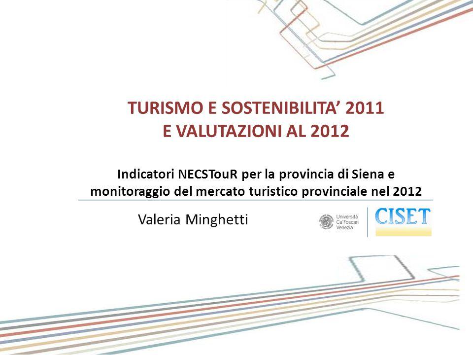 Valeria Minghetti TURISMO E SOSTENIBILITA 2011 E VALUTAZIONI AL 2012 Indicatori NECSTouR per la provincia di Siena e monitoraggio del mercato turistic