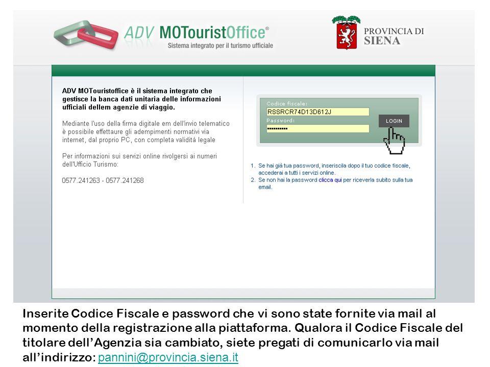 Inserite Codice Fiscale e password che vi sono state fornite via mail al momento della registrazione alla piattaforma. Qualora il Codice Fiscale del t
