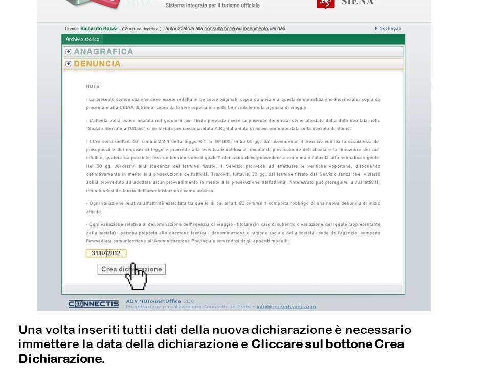 La pagina web viene oscurata ed appare una richiesta di conferma della creazione di una nuova dichiarazione (se necessario, è qui possibile anche annullare loperazione in corso).
