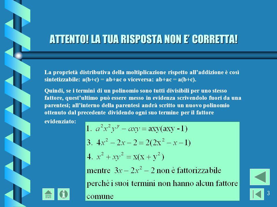 prof.Pier Angela Cerati3 ATTENTO. LA TUA RISPOSTA NON E CORRETTA.